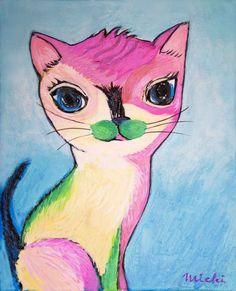 ピンクと黄緑の色の柄のユニークな猫の絵 Cat Paintings, Space Cat, My Works, Cats, Fictional Characters, Gatos, Kitty Cats, Cat Breeds, Fantasy Characters
