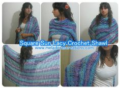 Square Sun Lacy Crochet Shawl - Free Pattern by Meladora's Creations
