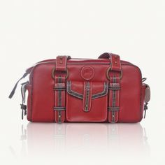 Small Leather Camera Bag - Red