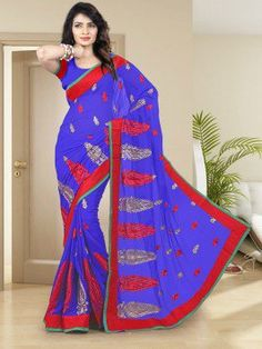 Blue Chiffon Saree With Resham Work