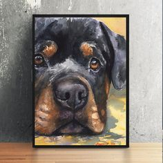 Rottweiler watercolor Print of the Original by GeorgeWatercolorArt