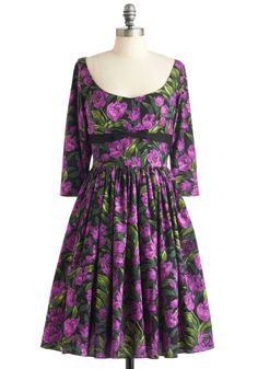 Tulip Tea Party Dress by Bernie Dexter - Long, Purple, Green, Black, Floral, Bows, Party, A-line, 3/4 Sleeve, Vintage Inspired, 50s, Cotton, Fit & Flare #modcloth #partydress