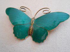 Enamel, Sterling Silver Hestenes Norway Butterfly Brooch