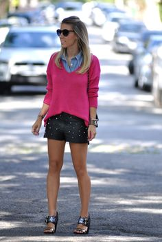 glam4you - nati vozza - couro - spikes - gritter shoes - look - look do dia - camisa jeans - tricot - pink - short couro