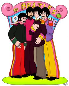 I do very much adore The Beatles. I haven't attempted the Yellow Submarine style since I was a little kid. The Beatles LO VE Beatles Party, The Beatles 1, Beatles Songs, Beatles Guitar, Yellow Submarine Art, Liverpool, Band On The Run, Rock Band Posters, John Lennon And Yoko