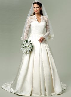 Butterick Sewing Pattern Misses' Lace-Overlay Dress with Train Wedding Dress Train, Wedding Gowns, Lace Wedding, Bridal Dresses, Prom Dresses, Bridal Tops, Wedding Dress Patterns, Lace Overlay Dress, Miss Dress