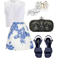 Feeling Blue Baby by styledbyjmini on Polyvore featuring polyvore, fashion, style, Zimmermann, Monique Lhuillier, Yves Saint Laurent and Marchesa