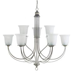 Sea Gull Lighting Plymouth 9-Light Chandelier - 36W in. Weathered Pewter - 31293-57