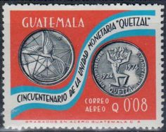 Guatemala - Postage stamp commemorating the fiftieth anniversary of the Guatemalan Coinage, 1924-1974.