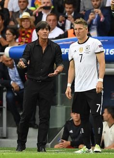 Germany manager Joachim Low and Bastian Schweinsteiger during the UEFA EURO 2016 Group C match between Northern Ireland and Germany at Parc des...