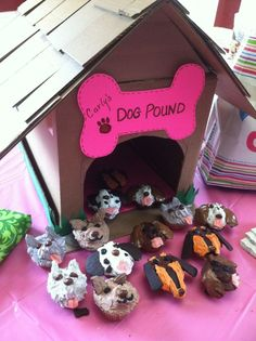 Puppy Cupcakes w/Doghouse out of cardboard box 2 Year Old Birthday, Puppy Birthday Parties, Puppy Party, Birthday Bash, Birthday Ideas, Cupcake Party, Cupcake Ideas, Puppy Cupcakes, Dog Pounds