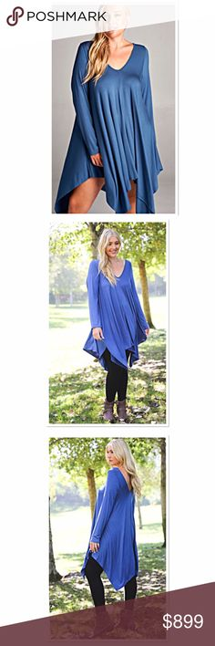 ‼️COMING SOON‼️DON'T FORGET TO LIKE ME‼️ Hi - Low Hem Drape Midi Dress - 95% Rayon 5% Spandex. These are absolutely stunning as a dress or long tunic with leggings. So soft and super stretchy. The color coming is a dark teal. I'm not sure yet it the stock photo replicates the true color but if not I will post a pic of the actual dress Boutique Dresses Midi
