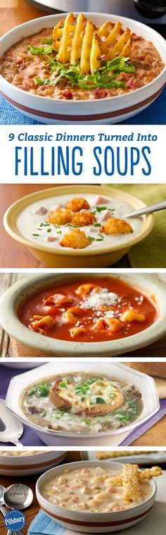 Super-hearty soups that make a meal. Think chicken pot pie, slow-cooker enchilada + more!