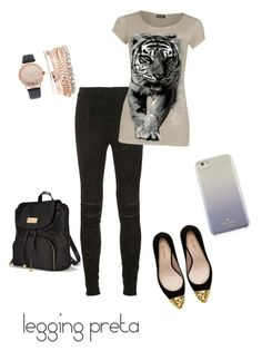 """legging preta"" by clarissa-cunha-vailatti on Polyvore featuring Yves Saint Laurent, Zara, WearAll, Victoria's Secret, Jessica Carlyle and Kate Spade"