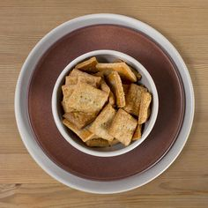 These crackers are displayed in a Heath Ceramics Chez Panisse Bowl, set over Heath Ceramics Coupe Plates Heath Ceramics, Cheddar, Crackers, Kids Meals, Dinnerware, French Toast, Dishes, Cookware, Breakfast