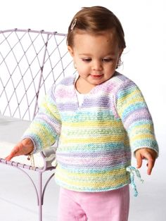 Free Pattern - Sweet little kimono is a dream to #knit in easy garter stitch. Great project for beginning knitters.