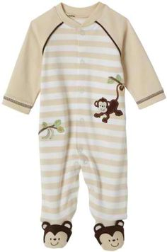 Little Me Layette Footie, Monkey Stripe, Ivory for $7.36 (found on Amazon) #babyclothing #babyclothes #unisex #baby #kids #children #onesies #gerber #babies #babyshower #babygirl #kidsclothing #kidsclothes #kidsfashion #babyfashion #babiesclothes #moms #pregnancy #babysocks #babycaps #caps #droolerbibs #bibs #footies