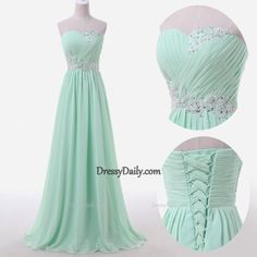 Gorgeous Handmade A Line Sweetheart Chiffon Ruched Lace Appliqués Sequins Prom Dress - PROM