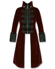 Punk-Rave-para-mujer-chaqueta-de-abrigo-Baratheon-en-rojo-terciopelo-gotico-Steampunk