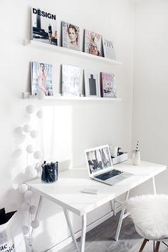 all white office space. #retrohomedecor