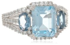 Sterling Silver, White Sapphire, Blue Topaz, and London Blue Topaz Ring - Fashion Jewelry