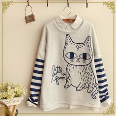 "Cute cat stripe sleeve fleece pullover Cute Kawaii Harajuku Fashion Clothing & Accessories Website. Sponsorship Review & Affiliate Program opening!so fashionable and sweet, use this coupon code ""Fanniehuang"" to get all 10% off"