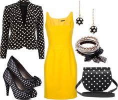 """""""Polka dot and yellow"""" by ivetaozola on Polyvore"""
