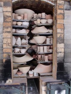 wood fired kiln images | Mandy Parslow, wood-fired salt-glaze kiln packed and ready to fire.