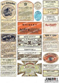 8 Best Images of Printable Medicine Labels Vintage - Printable Vintage Medicine Labels, Free Printable Apothecary Labels and Vintage Medicine Bottle Labels Vintage Paper, Etsy Vintage, Printable Labels, Printables, Etiquette Vintage, Halloween Labels, Halloween Potions, Birthday Scrapbook, Vintage Labels