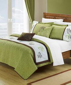 Look at this #zulilyfind! Green Kirsten Comforter Set by Chic Home Design #zulilyfinds