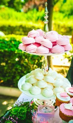 Pink and white Meringues