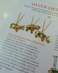 Our new jewellery collection in the Professional Jeweller ! #hippo #elephant #rhino