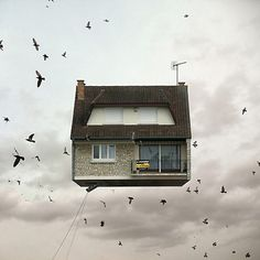 For the photo series Flying Houses, the sky is literally the limit. Parisian photographer Laurent Chéhère takes us on a trip to a whole neighbourhood in the sky.