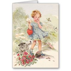 Vintage Girl And Cat Valentine's Day Card