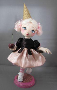 SALE Art Doll Ice Cream Sundae Sally Soft Sculpture by devoutdolls, $95.00