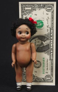 "ONLY 5"" J.D.K. 221 Googly-Mulatto Antique Reproduction Doll by Branka Schärli!!!"