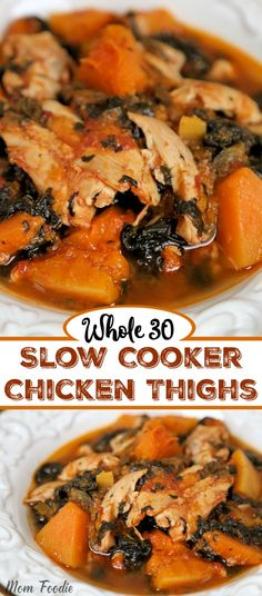 This easy Whole 30 Slow Cooker Chicken Thighs recipe also features butternut squash and spinach. It doesn't get much easier than this Whole 30 crockpot chicken. Whole 30 is a stricter form of the Paleo diet, Boneless Chicken Thighs Crockpot, Paleo Chicken Thighs, Slow Cooker Chicken Thighs, Chicken Thigh Recipes, Chicken Cooker, Stuffed Chicken Thighs, Slow Cooked Meals, Slow Cooker Recipes, Slow Cooking