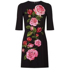Dolce & Gabbana Floral Print Midi Dress (20 920 ZAR) ❤ liked on Polyvore featuring dresses, flower print dress, dolce gabbana dress, floral formal dresses, rose print dress and formal midi dress
