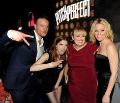 """Director Jason Moore, actors Anna Kendrick, Rebel Wilson and actress/producer Elizabeth Banks pose at the after party for Universal Pictures and Gold Circle Films' """"Pitch Perfect"""" at Lure on September 24, 2012 in Los Angeles, California."""