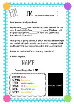 Example Letter To Parents From Student Teacher  Student Teachers