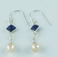 DESIGNER LOOK LIGHT WEIGHT LAPIS & PEARL STONE 925 SOLID STERLING SILVER EARRING #SilvexImagesIndiaPvtLtd #DropDangle
