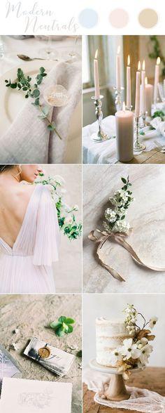 Ideas modernas del tema neutral de la boda