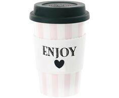 Discover the Miss Étoile Ceramic Travel Mug - Enjoy with Rose Stripes at Amara Coffee To Go, Hot Coffee, Coffee Cups, Terracotta, To Go Becher, Kitchenware, Tableware, Travel Cup, Scandinavian Living