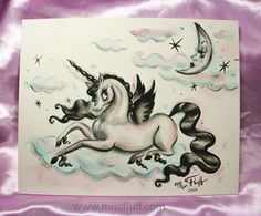 A Miss Fluff original drawing of glamorous moon gazing upon a magical unicorn pegasus lounging on a cotton candy cloud. A very whimsical piece! Unicorn And Fairies, Unicorn Art, Magical Unicorn, Virgo Art, Shadow And Amy, Miss Fluff, Cotton Candy Clouds, Cloud Tattoo, Cute Cartoon Animals