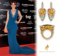 Actress Ana Polvorosa, looking gorgeous at the Red Carpet of Premios Goya 2014, celebrated in the Hotel Auditorium in Madrid last sunday. Ana is wearing earrings and ring in 18kt yellow gold, diamonds and green quartz from Vitral Collection Stylist: Freddy Alonso  #Celebrities #fashion  #VitralCollection #AnaPolvorosa #Magerit #PremiosGoya2014 #jewels