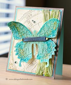 Tim Holtz die with matching embossing folder to put texture on the butterfly (bee or dragonfly) A Blog Called Wanda