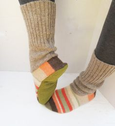Women's slipper socks made from recycled wool sweaters sz 6-7 via Etsy