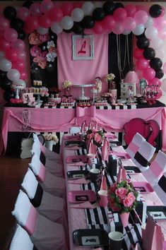 CottonCandy's Birthday / Barbie - Photo Gallery at Catch My Party Barbie Party Decorations, Barbie Theme Party, Sweet 16 Decorations, Barbie Birthday Party, Birthday Table, 14th Birthday, Birthday Decorations, Birthday Party Themes, Baby Birthday