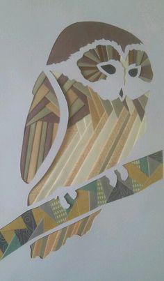 Owl iris folding by Frances de Paeztron Paper Folding Designs, Iris Folding Templates, Iris Paper Folding, Iris Folding Pattern, Paper Piecing Patterns, Card Patterns, Pattern Paper, Quilt Patterns, Paper Cards