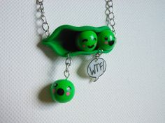 Haha this is super cute!  THE ORIGINAL WTF pea pod fail necklace by xDonnaxthexDeadx on Etsy, $20.00